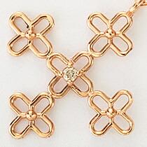 『天然ダイヤモンド0.01ct フラワークロス10金ネックレス』-6