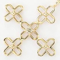 『天然ダイヤモンド0.01ct フラワークロス10金ネックレス』-8