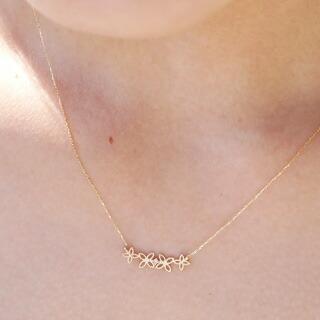『天然ダイヤモンド0.01ct フェミニンフラワーモチーフ10金ネックレス』-8