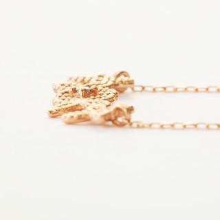 『天然ダイヤモンド0.01ct フェミニンフラワーモチーフ10金ネックレス』-5