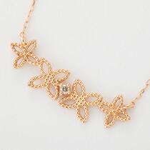 『天然ダイヤモンド0.01ct フェミニンフラワーモチーフ10金ネックレス』-9
