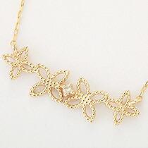 『天然ダイヤモンド0.01ct フェミニンフラワーモチーフ10金ネックレス』-11