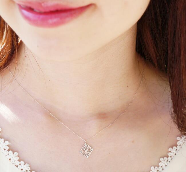 『天然ダイヤモンド0.01ct ローンバス10金ネックレス』-7