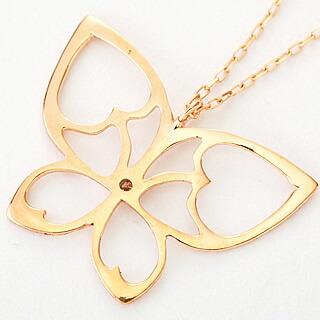 『天然ダイヤモンド0.01ct バタフライモチーフ10金ネックレス』-3