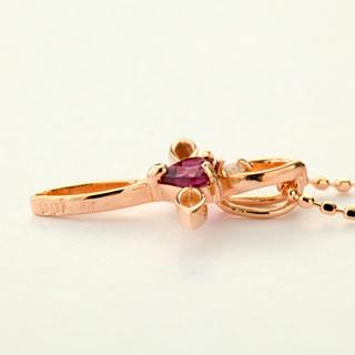 天然ダイヤモンド ロードライトガーネット ファインクロス 10金ネックレス-4