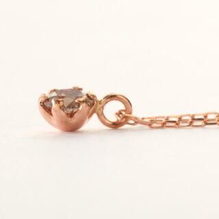 0.1カラット シャンパンブラウンダイヤモンド 一粒ネックレス-4