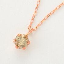0.1カラット シャンパンブラウンダイヤモンド 一粒ネックレス-8