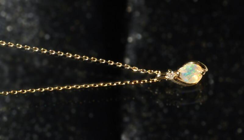 『エチオピア産 オパール + 天然ダイヤモンド0.01ct 10金ネックレス』-2