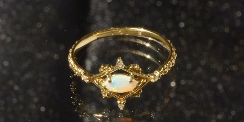 オパール 天然ダイヤモンド 10金リング-2