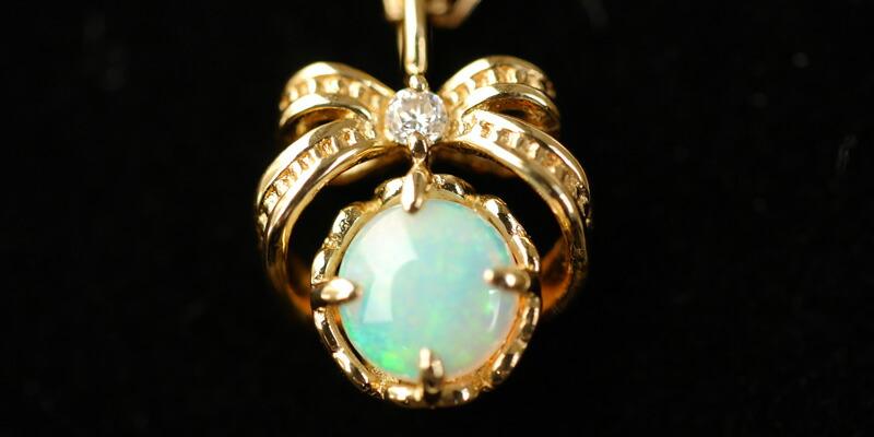 エチオピア産オパール 天然ダイヤモンド0.01カラット リボン18金ネックレス-2
