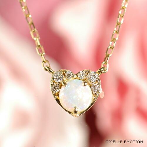 エチオピア産オパール 天然ダイヤモンド エレガント18金ネックレス-1