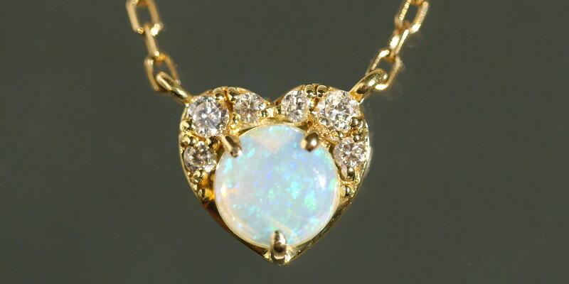 エチオピア産オパール 天然ダイヤモンド エレガント18金ネックレス-2