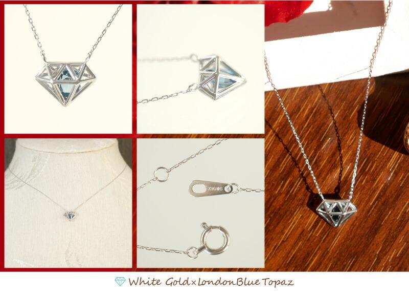 ダイヤモンドモチーフ18金ネックレス-3