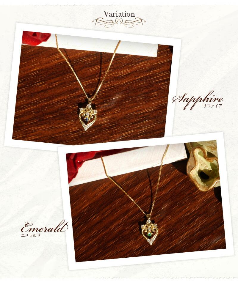 『天然ダイヤモンド0.07ct+エメラルド・サファイア 18金ネックレス』-2