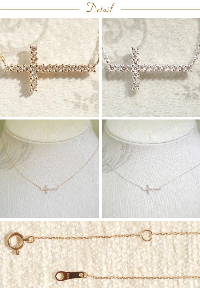 『天然ダイヤモンド 18金クロスネックレス』-3