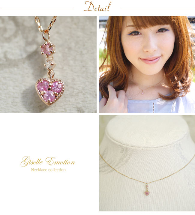 『ピンクサファイア+ダイヤモンド10金ネックレス』-3