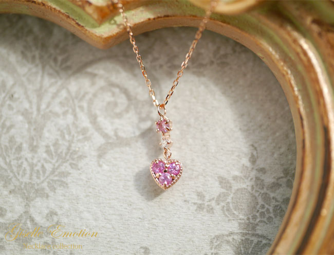 『ピンクサファイア+ダイヤモンド10金ネックレス』-4