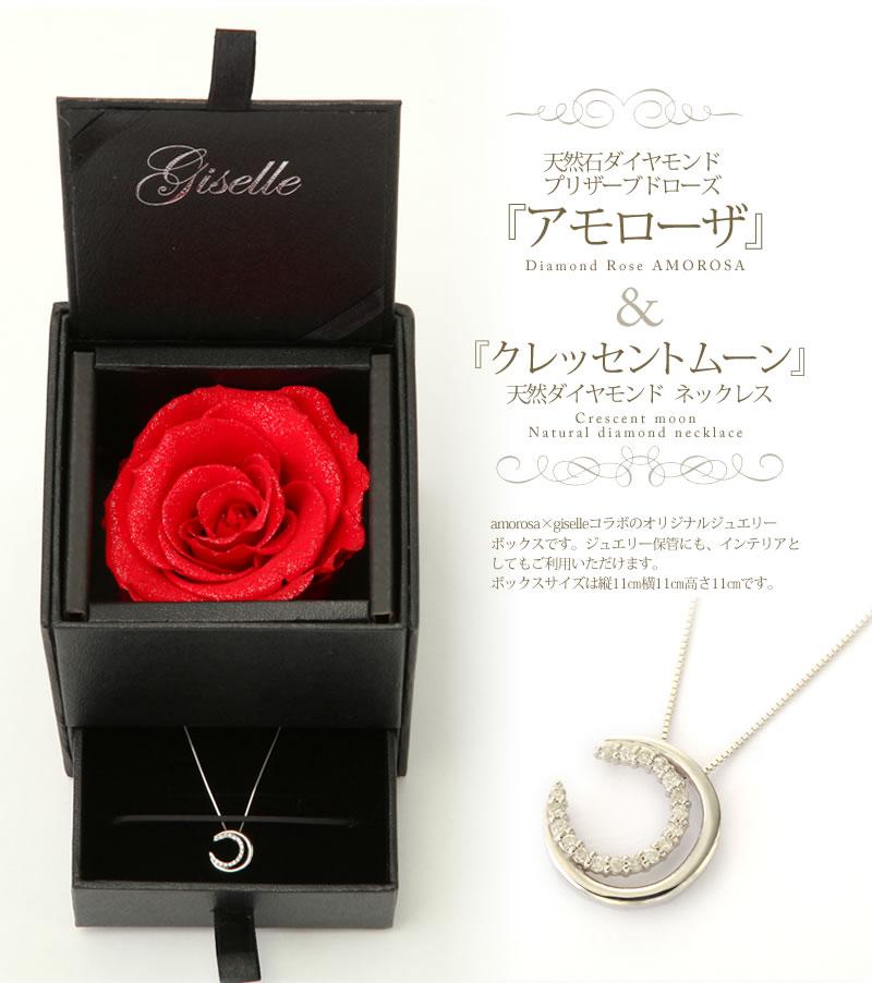 ローズベルシア×天然ダイヤモンド0.09ct ムーンモチーフ18金ホワイトゴールドネックレス-4