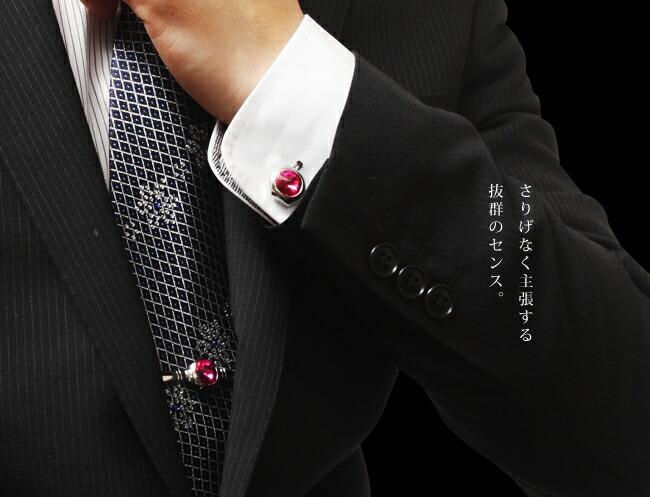 『天然ダイヤモンドローズ×カフスボタン&ネクタイピンセット』-5