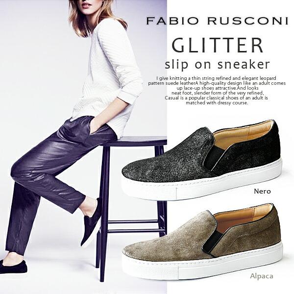 Fabio Rusconi �ե��ӥ� �륹������ <br> ����å��� ��� �����ɥ��� �������� �쥶�� ����åݥ� ���塼�� �� GLITTER suede slip on ��