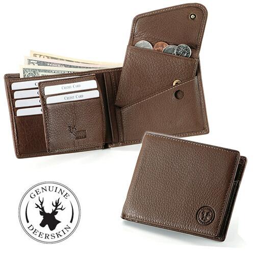 鹿革しなやか二つ折り財布
