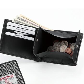 ハリスツイード二つ折り財布