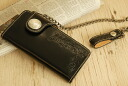 An outlet! Brei dollar leather hand curve / bikies wallet (long)