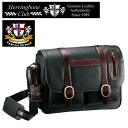Soft emboss leather messenger bag /Herring Bone Club