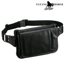 Horse hide a slim waist bag G/FLYING HORSE