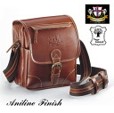 Aniline buffalo leather compact shoulder bag