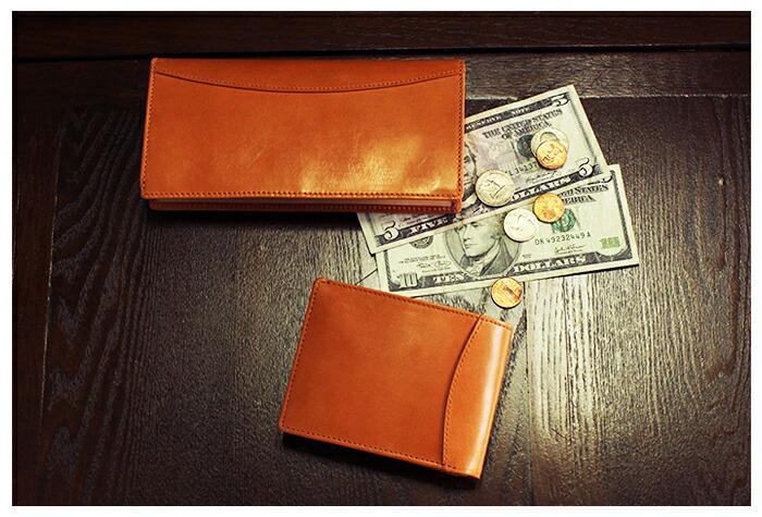 GLNCHECKオリジナルブライドルレザーライト長財布と二つ折り財布