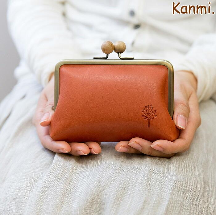 Kanmi.ドロップツリー木玉がま口ミニウォレット ぽかぽか風にまんまる木玉