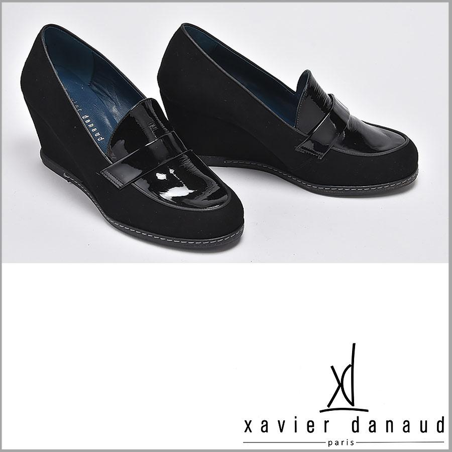 XAVIER DANAUD/グザヴィエ ダノー/xavier danaud スエード × パテント ウェッジローファー