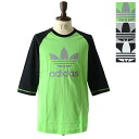 adidas originals Adidas original slag orchid T-shirt BASEBALL RAGLAN three-quarter sleeves seven minutes raglan sleeves T シャツトレフォイルロゴ T honewort (men's)
