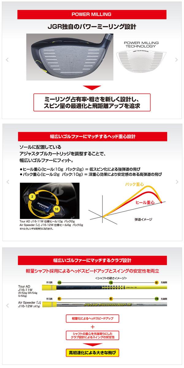 【送料無料】 ブリジストン メンズ JGR ドライバー Air Speeder 「J」J16-12W シャフト(カーボン)GDGC1W [BRIDGESTONE]