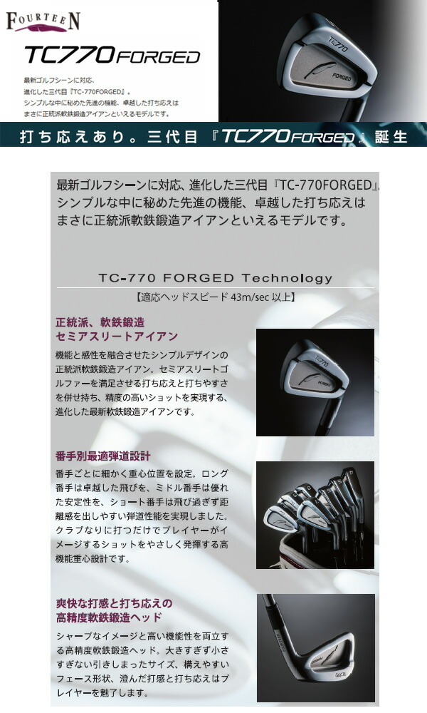【特注品】【納期4週間~6週間】【送料無料】 フォーティーン TC-770FORGED アイアン 単品(#4) RODDIO I-Series I-10