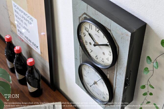 温度計&キーボックス付きデザイン壁掛け時計「TRON」