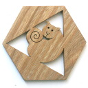 Hexagonal Kitty Coaster Wooden Toys (Ginga Kobo Toys) Japan