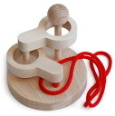 SCUPTURAL LINK PUZZLE (2 LEVEL) Wooden Toys (Ginga Kobo Toys) Japan