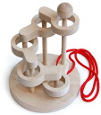 SCULPTURAL LINK PUZZLE (5 LEVEL) Wooden Toys (Ginga Kobo Toys) Japan
