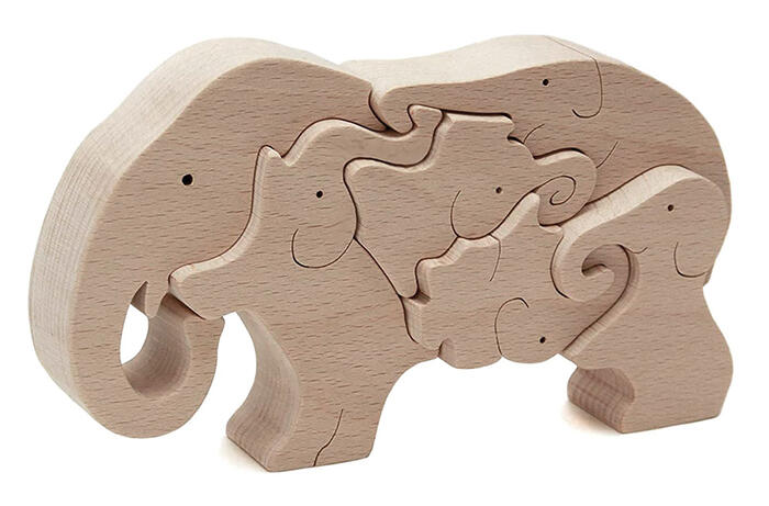 Wooden Toy Puzzle Elephant : パズル 子供 知育 : パズル