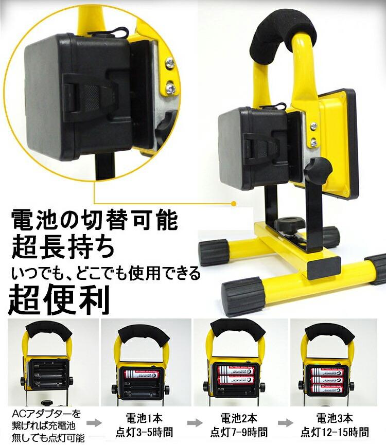 LED 投光器 充電式 24W 携帯式 防災 広角