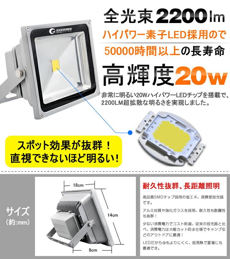 LED投光器 20W 防水 AC85V〜265V対応 昼白色 作業灯 屋外灯 防水防塵