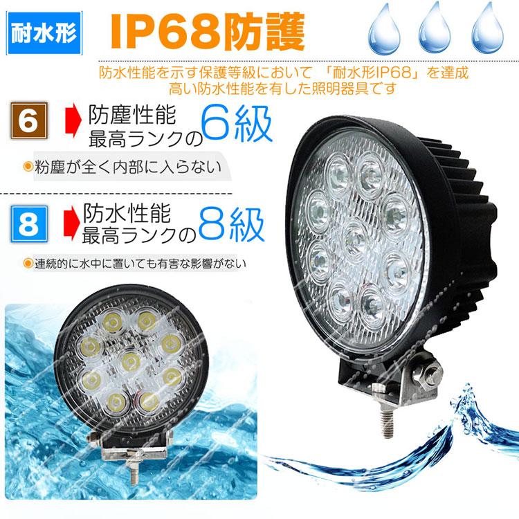 作業灯 LED 12V 27W 屋外照明 看板灯 集魚灯 駐車場灯 サーチライト