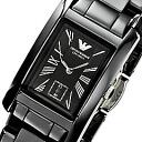 EMPORIO ARMANI (Emporio armani) AR1407 CERAMICA/ Mika Sera ceramic square black Lady's watch watch