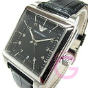 EMPORIO ARMANI (Emporio armani) AR1621 classical music square leather belt black men watch watch