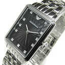 EMPORIO ARMANI (Emporio armani) AR1665 classical music square crystal index metal belt black Lady's watch watch