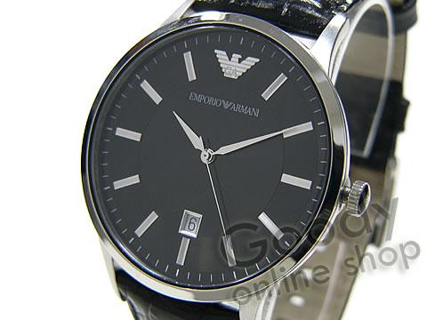 腕時計【EMPORIO ARMANI (エンポリオ アルマーニ) AR2411 クラシック ブラック レザー メンズウォッチ 腕時計】