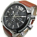 "Men's watch watch of casual watch brand ""DIESEL TIMEFRAMES"" (diesel time frame) of the DIESEL (diesel) DZ4296 Over Flow overflow chronograph leather belt black diesel"