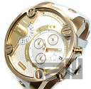 DIESEL (diesel) DZ7273 XXL case dual time frying leather belt gold x white mens watch